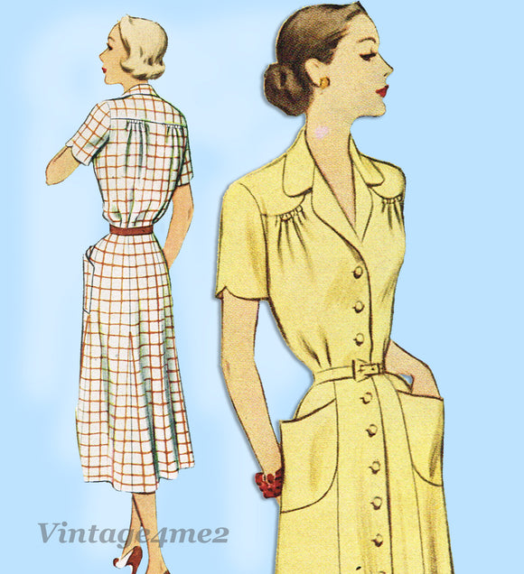 McCall 8581: 1950s Uncut Misses Shirtwaist Dress Sz 38 B Vintage Sewing Pattern