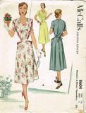 1950s Vintage McCall Sewing Pattern 8604 Charming Misses House Dress Sz 34 Bust