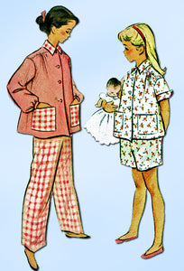 1950s Vintage McCalls Sewing Pattern 8605 Toddler Girls 2 PC Pajamas Size 6 24B