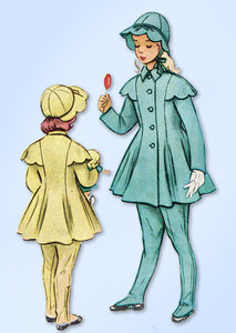 1950s Vintage McCalls Sewing Pattern 8666 Uncut Toddler Girls Coat and Hat Sz 4