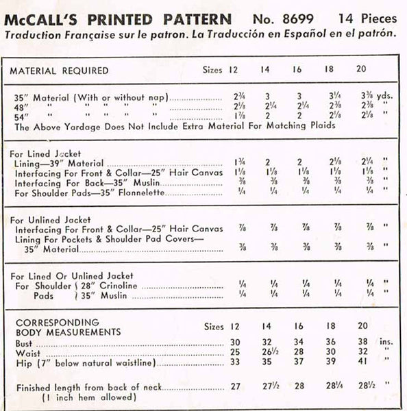 1950s Vintage McCalls Sewing Pattern 8699 Misses Sports Jacket or Blazer Sz 34 B