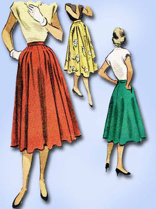 1950s Vintage McCalls Sewing Pattern 8705 Misses Street Skirt Size 26 Waist