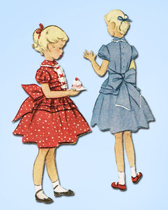 1950s Vintage McCalls Sewing Pattern 8709 Toddler Girls Tucked Party Dress Sz 6 - Vintage4me2