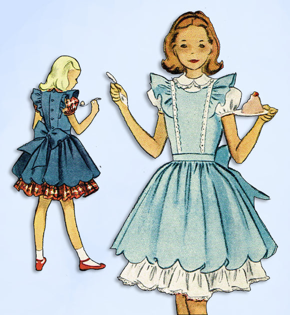 1950s Vintage McCalls Sewing Pattern 8714 Uncut Girls Dress & Pinafore Size 8