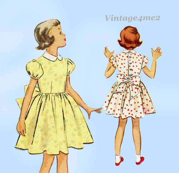 1950s Vintage McCall's Sewing Pattern 8770 Little Girls Dress Size 8
