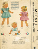 1940s Vintage McCall Sewing Pattern 878 Toddler Girls WWII Smocked Dress Size 1 - Vintage4me2