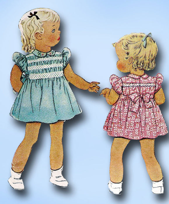 1940s Vintage McCall Sewing Pattern 878 Toddler Girls Dress with Smocking Size 2