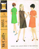 1960s Vintage McCalls Sewing Pattern 8851 Stylish Misses Mod Dress Size 12 32B