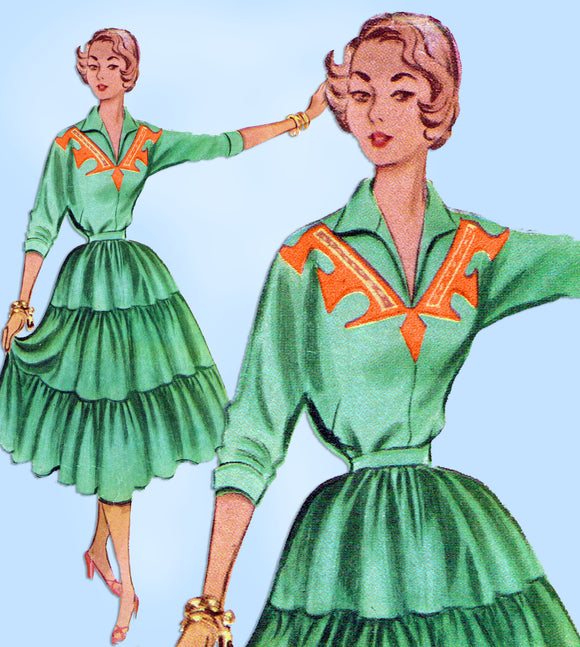 1950s Vintage McCalls Sewing Pattern 8873 Misses 2 PC Squaw Dress Sz 30 B - Vintage4me2