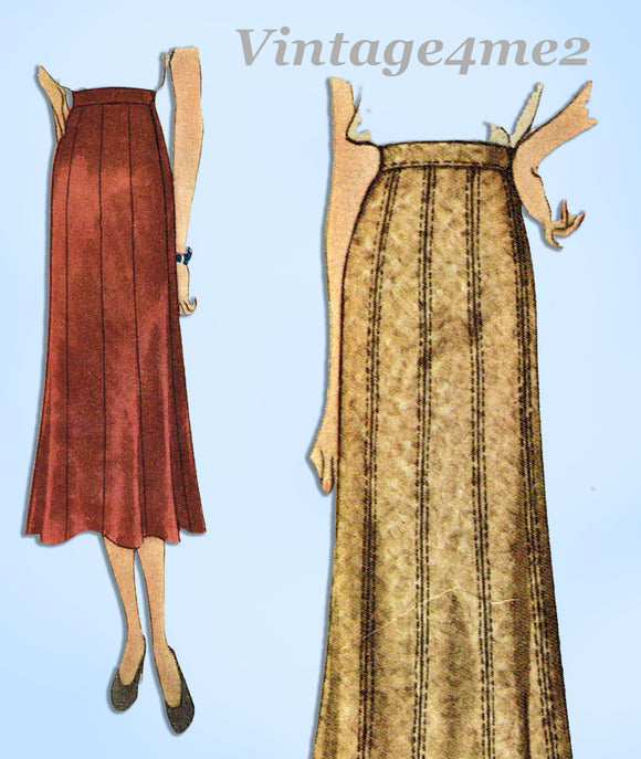 McCall 8901: 1930s Plus Size Misses 10 Gore Skirt 30 W Vintage Sewing Pattern