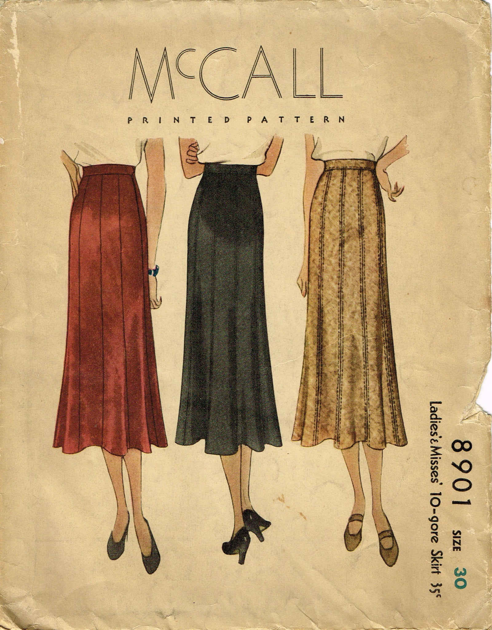 R291 McCall 7809 1949 Vintage Sewing Pattern W30 SKIRT