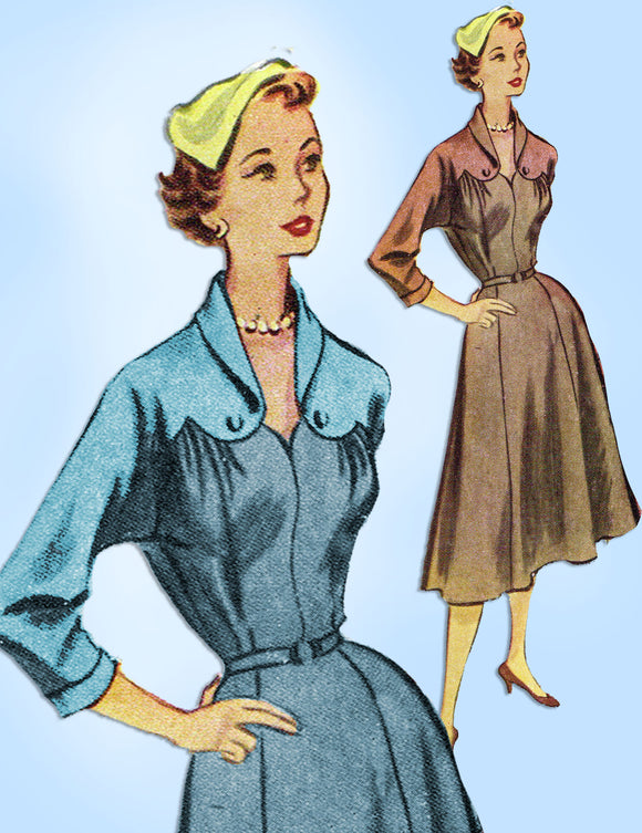 1950s Vintage McCall's Sewing Pattern 8977 Stunning Misses Street Dress Sz 34 B - Vintage4me2