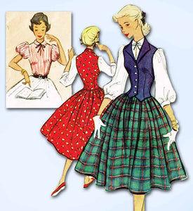 1950s Vintage McCalls Sewing Pattern 9024 Misses Skirt Blouse and Weskit Size 14