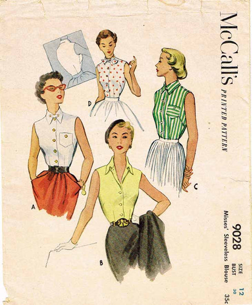 1950s Vintage McCalls Sewing Pattern 9028 Misses Sleeveless Summer Blouse Sz 30B