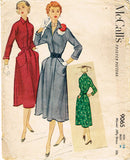 1950s Vintage McCalls Sewing Pattern 9065 Easy Uncut Misses Dress Size 16 34B