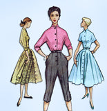1950s Vintage McCalls Sewing Pattern 9081 Uncut Skirt Blouse Peddle Pushers 33 B