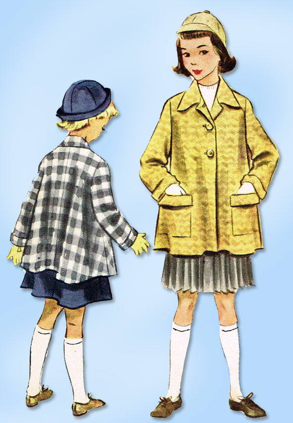 1950s Original Vintage McCall Sewing Pattern 9167 Little Girls Swing Coat Size 10
