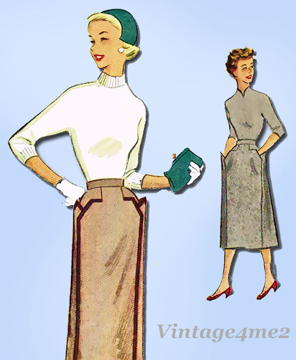 1950s Vintage McCalls Pattern 9177 Uncut Misses Skirt w Cute Pockets Size 30W