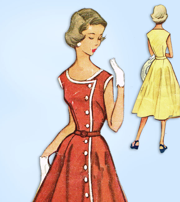 1950s Vintage McCalls Sewing Pattern 9223 Junior Misses Sun Dress Size 33 Bust