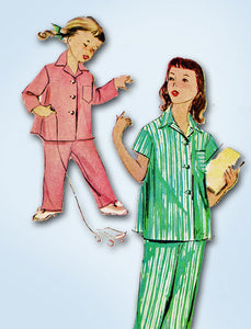 1950s Vintage McCalls Sewing Pattern 9234 Toddler Girl's 2 Piece Pajamas Size 4