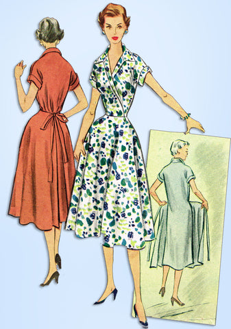 1950s Vintage McCall's Sewing Pattern 9261 Uncut Misses Swing Around Dress 32 B