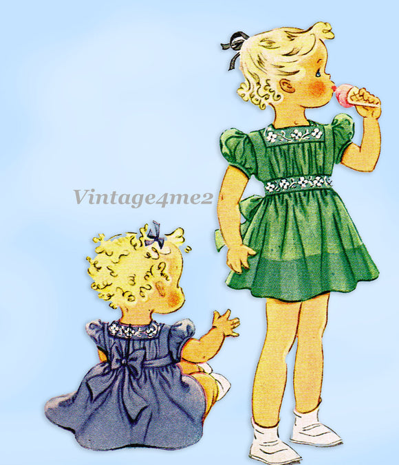 McCall 927: 1940s Cute Uncut Toddler Girls Dress Size 6 Vintage Sewing Pattern