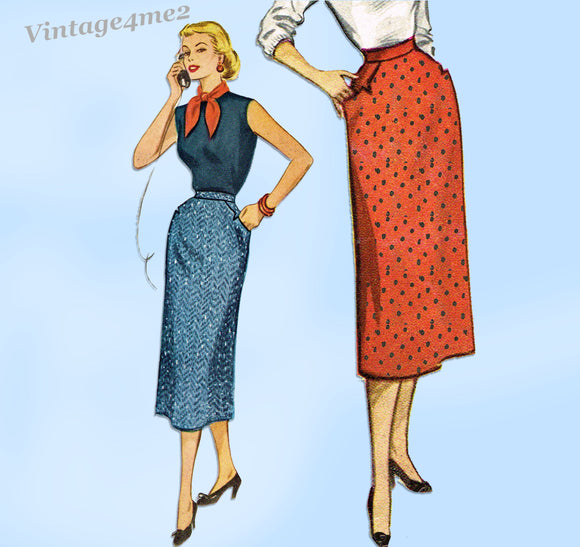 McCall's Pattern 9277: 1950s Easy Misses Slender Skirt 26 W Vintage Sewing Pattern