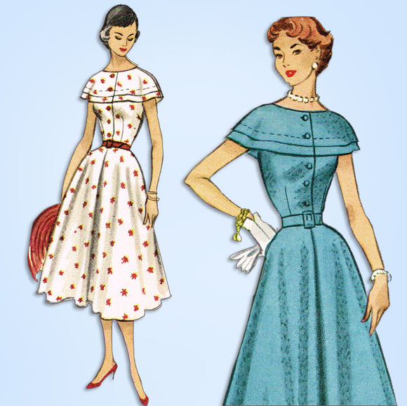 1950s Vintage McCall's Sewing Pattern 9331 Uncut Misses Cocktail Dress Size 32 B