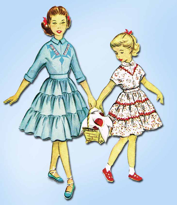 1950s Vintage McCalls Sewing Pattern 9446 Uncut Girls 2 PC Squaw Dress Size 12