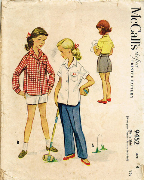 1950s Vintage McCalls Sewing Pattern 9452 Toddler Girls Monogram Shirt Size 4