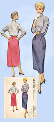 1950s Original Vintage McCalls Pattern 9516 Easy Misses One Piece Skirt Sz 28 W