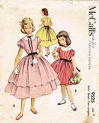 1950s Vintage McCalls Sewing Pattern 9525 Little Girls Scalloped Dress Size 8