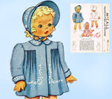 1940s Vintage McCall Sewing Pattern 964 Baby Girls Heirloom Coat & Bonnet 6 mos