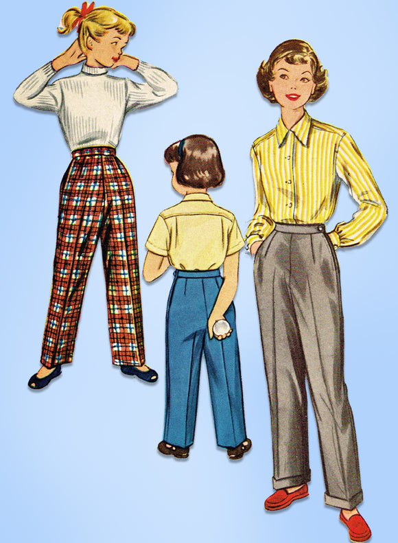 1950s Vintage McCalls Sewing Pattern 9694 Uncut Toddler Girls Slacks Size 4 23B