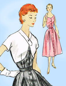 1950s Vintage McCall's Sewing Pattern 9707 Misses Sun Dress & Jacket Sz 34 Bust - Vintage4me2