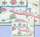 1940s Vintage McCall Embroidery Transfer 985 Wreath Flower Pillowcase Original - Vintage4me2