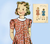 1930s Original Vintage McCall Sewing Pattern 9850 Cute Toddler Girls Dress Sz 4