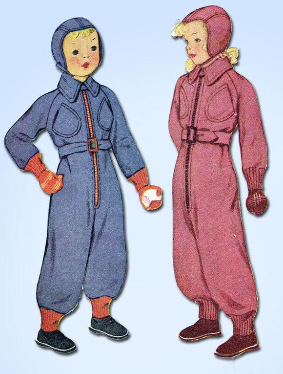 1930s Vintage McCall Sewing Pattern 9894 Kids One Piece Snow Suit and Cap Sz 8 - Vintage4me2