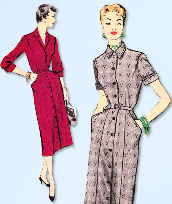 1950s Vintage McCalls Sewing Pattern 9903 Misses Slender Shirtwaist Dress Sz 32B - Vintage4me2