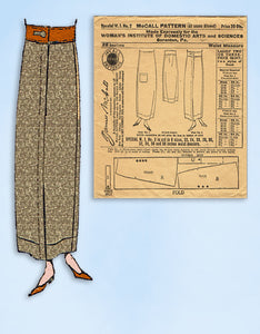 1910s Vintage Uncut McCall Sewing Pattern Special Woman's Institute 2 Skirt 28 W