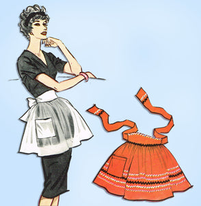 1950s Vintage McCall's Sewing Pattern Classic Sample Cocktail Apron Fits All - Vintage4me2
