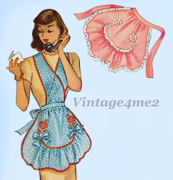 1940s Vintage McCall Sewing Pattern 1279 Misses Scallop Full Bib Apron Fits All - Vintage4me2