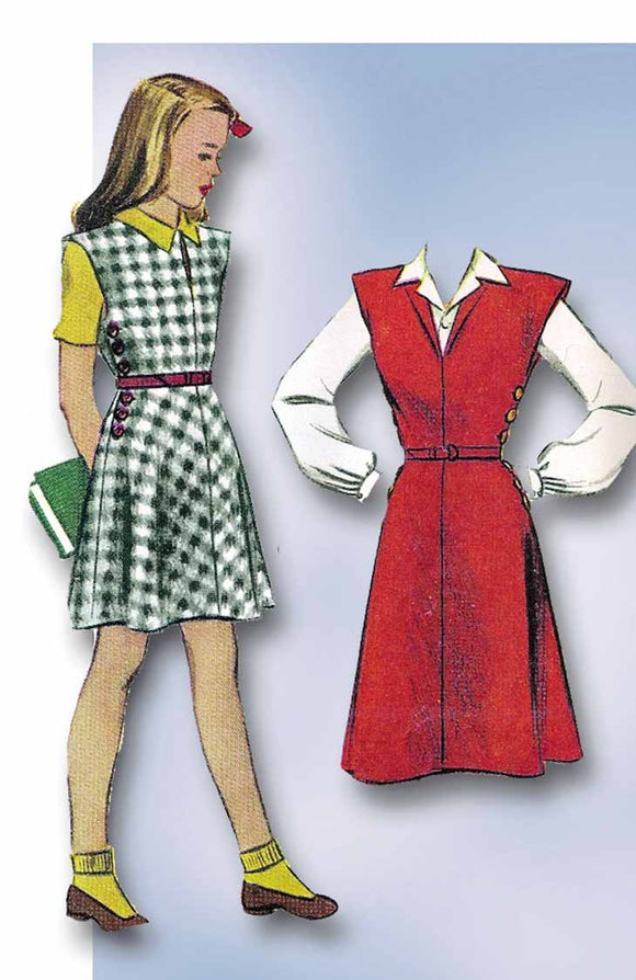 1940s Vintage McCall Sewing Pattern 4541 Toddler Girls WWII Jumper Dress Sz 6 - Vintage4me2