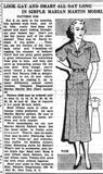 Marian Martin 9108: 1930s Plus Size Street Dress Sz 40 B Vintage Sewing Pattern
