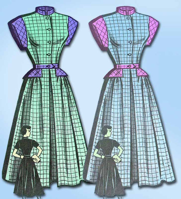 1940s Vintage Marian Martin Sewing Pattern 9133 Misses WWII Peplum Dress Sz 33 B - Vintage4me2