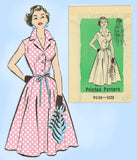 1950s Vintage Marian Martin Sewing Pattern 9238 Plus Size Shirtwaist Sun Dress 42 B