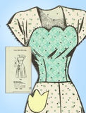 1940s Vintage Marian Martin Sewing Pattern 9263 Misses Sweetheart Dress Sz 34 B