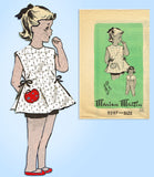 Marian Martin 9297: 1950s Vintage Sewing Pattern Girls Play Apron Blouse & Pants Size 8 vintage4me2