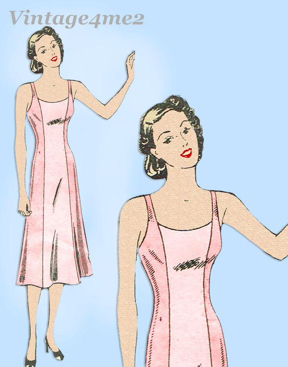 Marian Martin 9332: 1930s Plus Size Princess Slip Sz 40 B Vintage Sewing Pattern