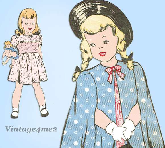 Marian Martin 9345: 1940s Toddler Girls Dress & Cape Sz 2 Vintage Sewing Pattern - Vintage4me2